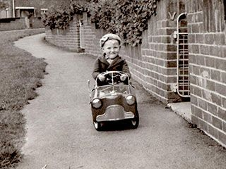 Ian Taylor on his Pedal Car